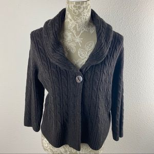 Ann Taylor Loft Brown Cable Knit Cardigan Large
